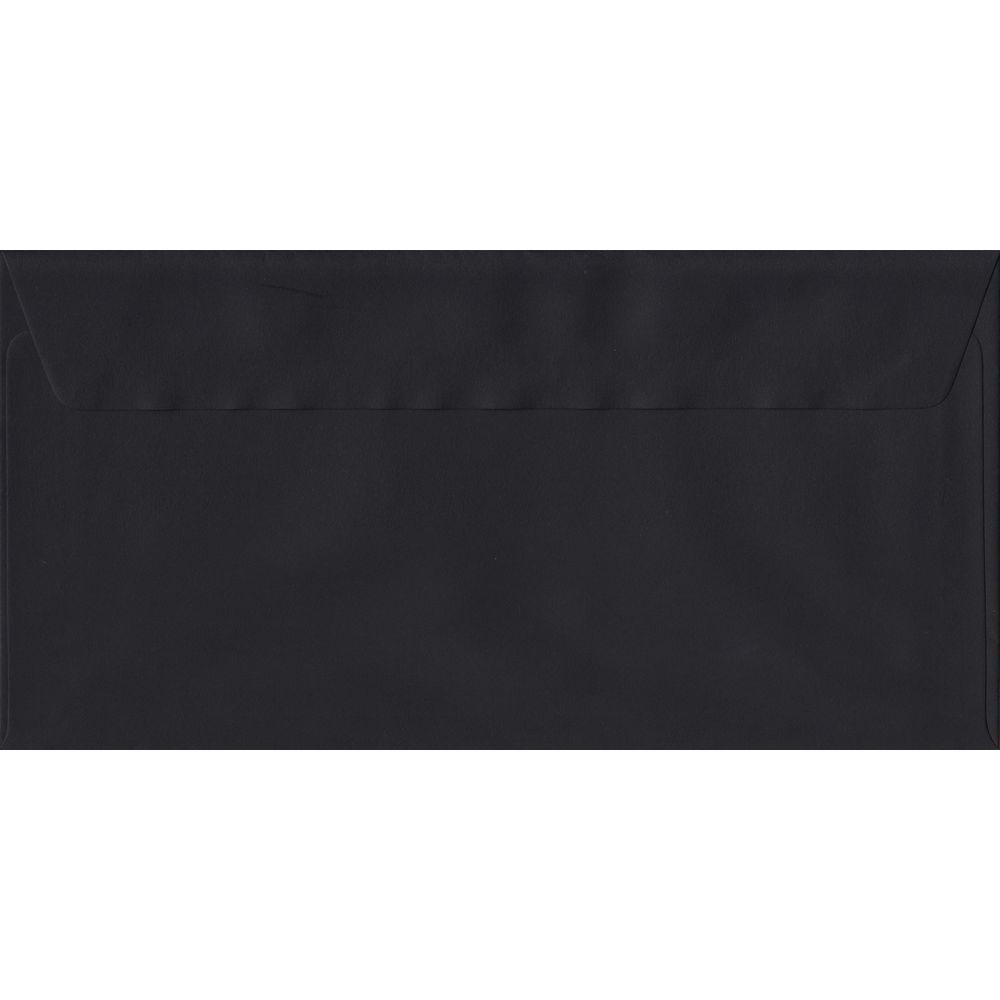 100 DL Black Envelopes. Black. 110mm x 220mm. 100gsm paper. Peel/Seal Flap.