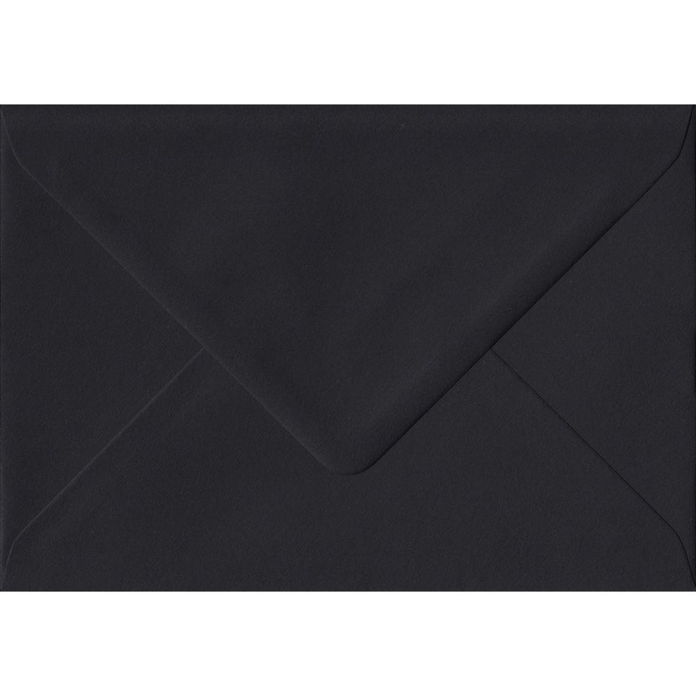 100 A6 Black Envelopes. Black. 114mm x 162mm. 100gsm paper. Gummed Flap.