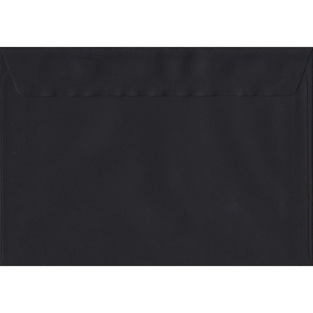 100 A5 Black Envelopes. Black. 162mm x 229mm. 100gsm paper. Peel/Seal Flap.