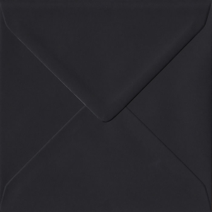 100 Square Black Envelopes. Black. 155mm x 155mm. 100gsm paper. Gummed Flap.