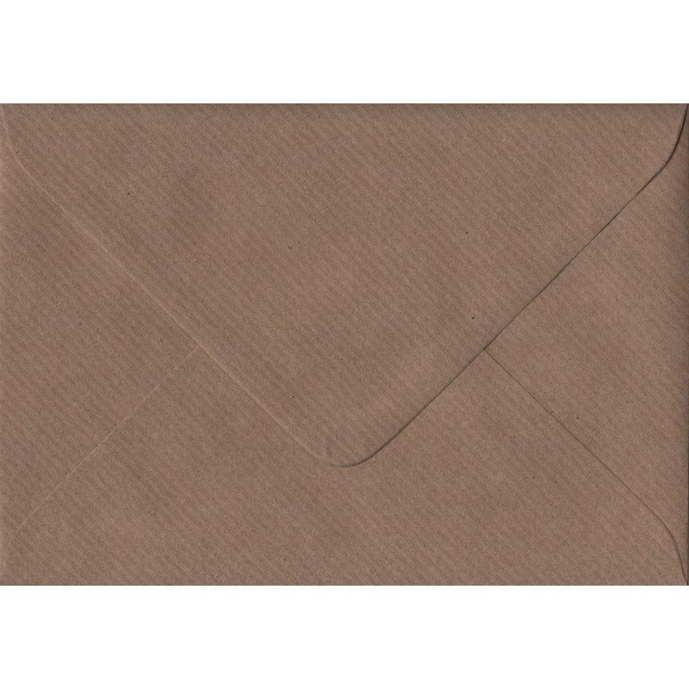 100 A6 Brown Envelopes. Brown Ribbed. 114mm x 162mm. 100gsm paper. Gummed Flap.