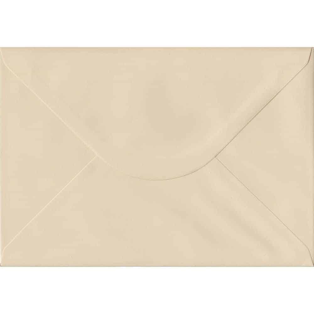 100 A5 Cream Envelopes. Cream. 162mm x 229mm. 100gsm paper. Gummed Flap.