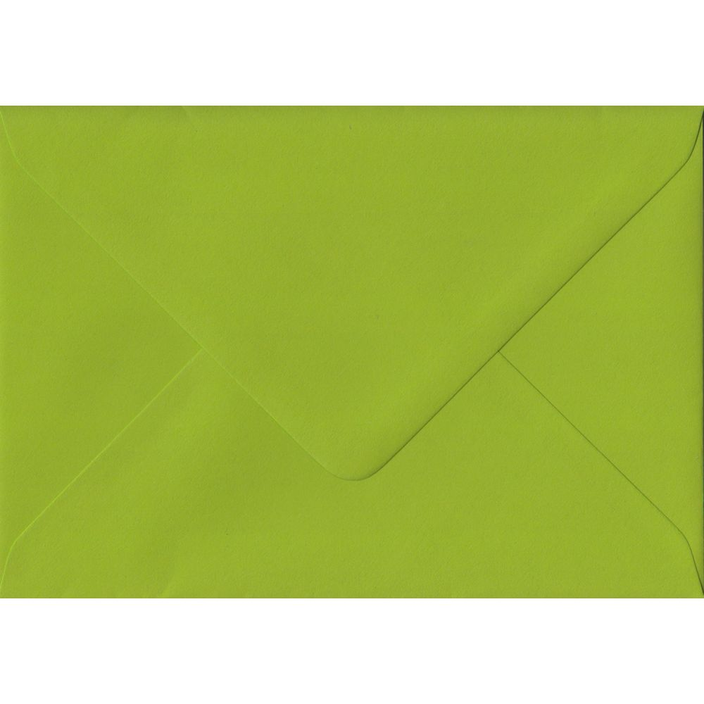 100 A6 Green Envelopes. Fresh Green. 114mm x 162mm. 100gsm paper. Gummed Flap.