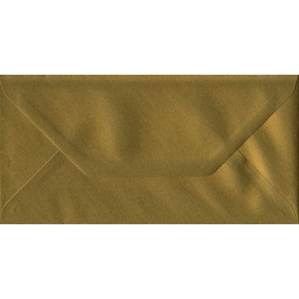 100 DL Gold Envelopes. Metallic Gold. 110mm x 220mm. 100gsm paper. Gummed Flap.