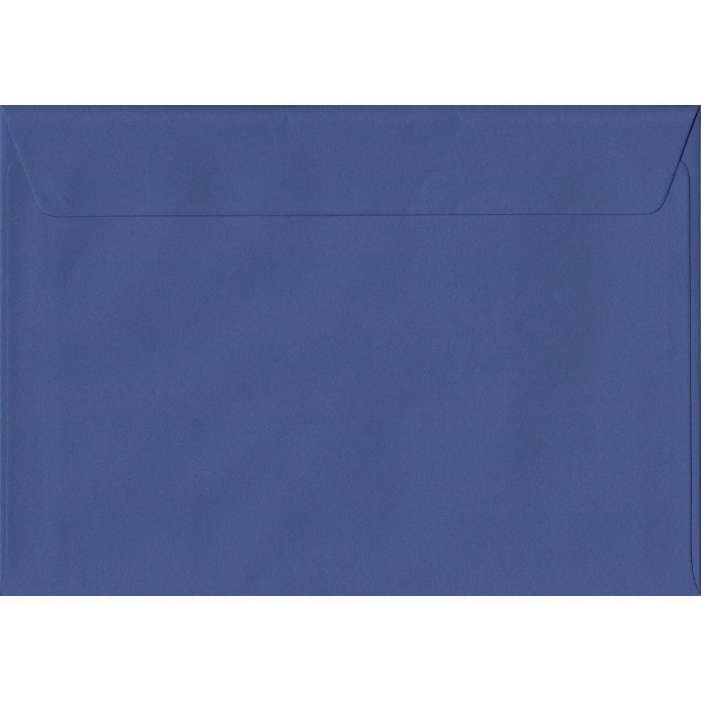 100 A5 Blue Envelopes. Iris Blue. 162mm x 229mm. 100gsm paper. Peel/Seal Flap.