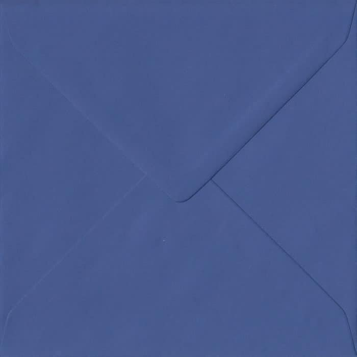 100 Square Blue Envelopes. Iris Blue. 155mm x 155mm. 100gsm paper. Gummed Flap.