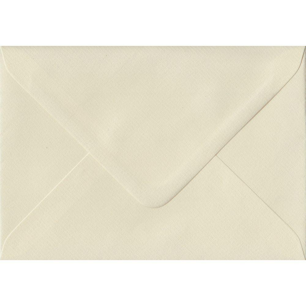 100 A6 Cream Envelopes. Ivory Laid. 114mm x 162mm. 100gsm paper. Gummed Flap.