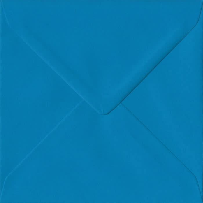 100 Square Blue Envelopes. Kingfisher Blue. 155mm x 155mm. 100gsm paper. Gummed Flap.