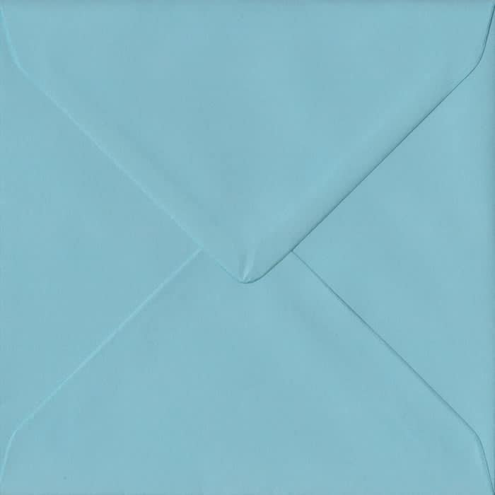 100 Square Blue Envelopes. Blue. 155mm x 155mm. 100gsm paper. Gummed Flap.