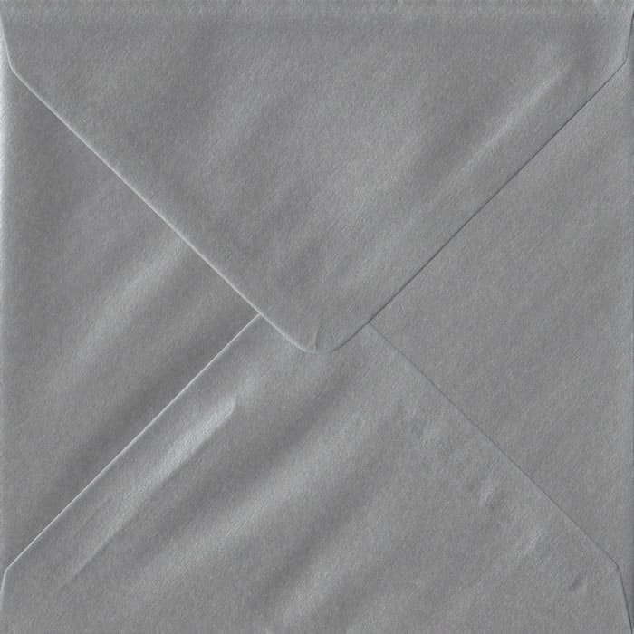 100 Square Silver Envelopes. Metallic Silver. 155mm x 155mm. 100gsm paper. Gummed Flap.
