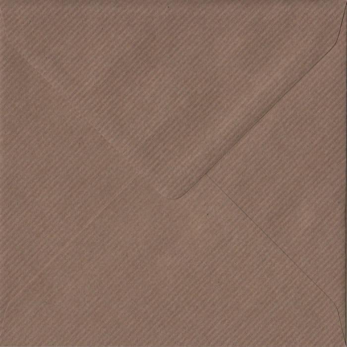 Brown Ribbed Premium Gummed S4 155mm x 155mm Individual Coloured Envelope