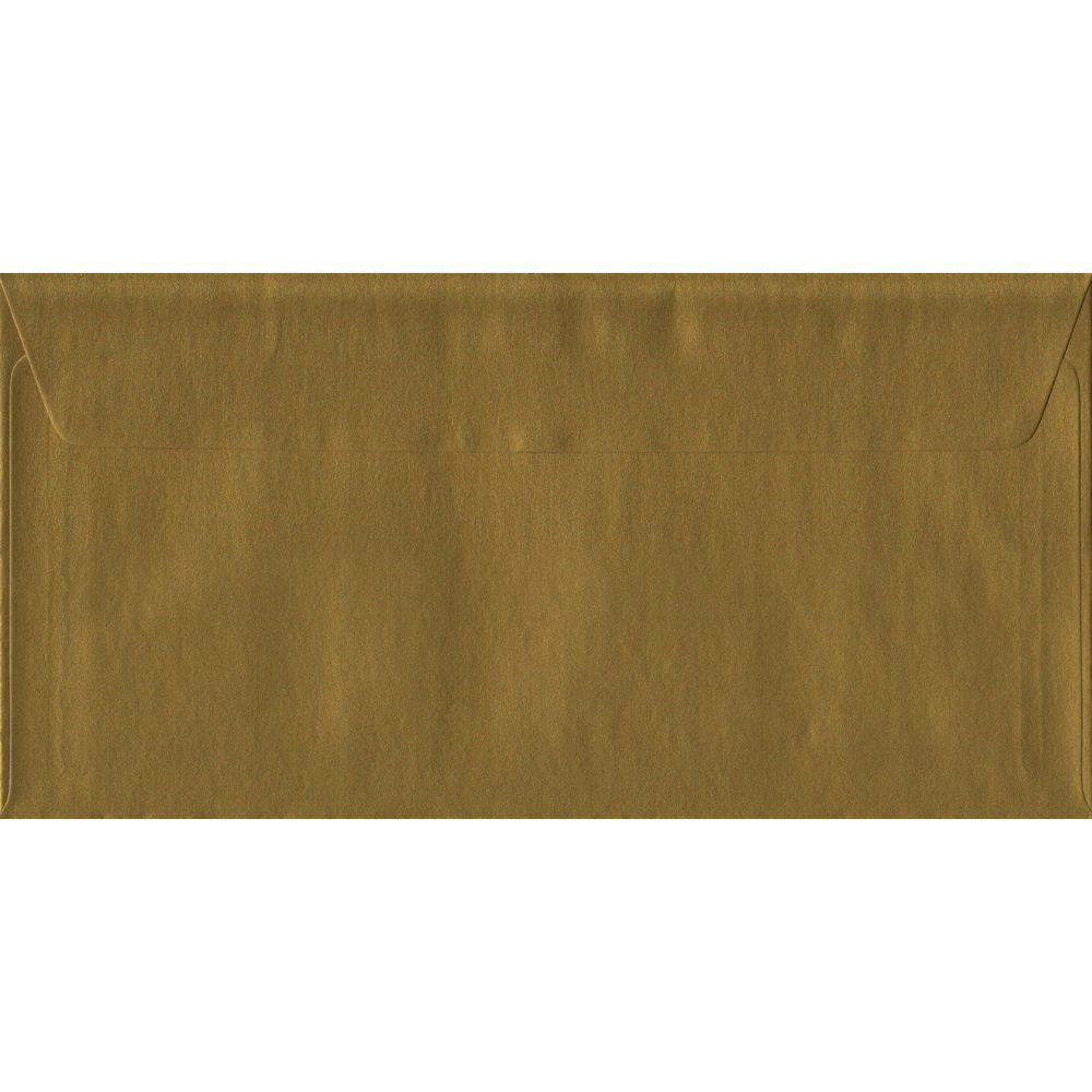 Gold Metallic Peel And Seal DL 110mm x 220mm Individual Coloured Envelope
