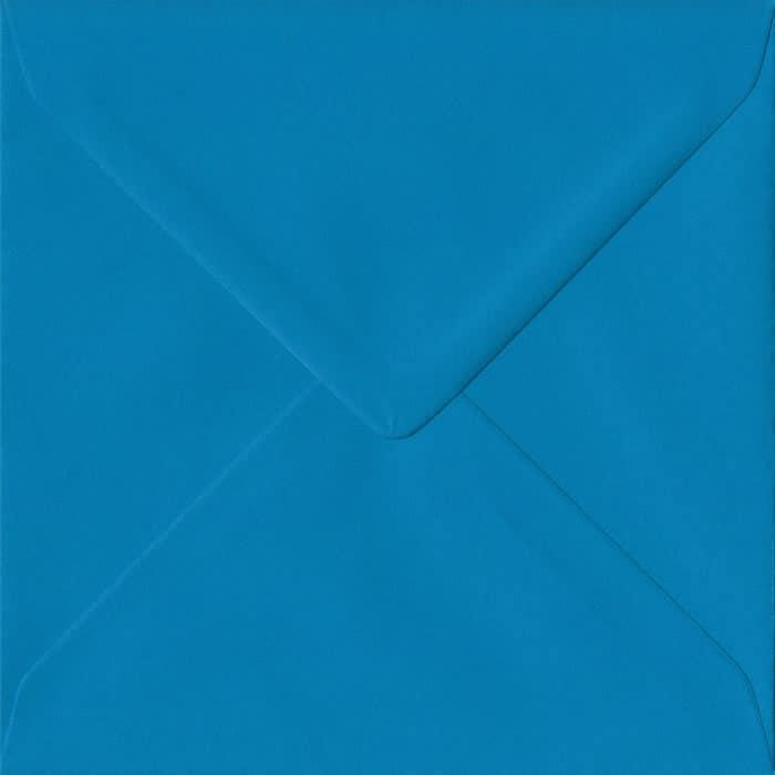 Kingfisher Blue Plain Gummed S4 155mm x 155mm Individual Coloured Envelope