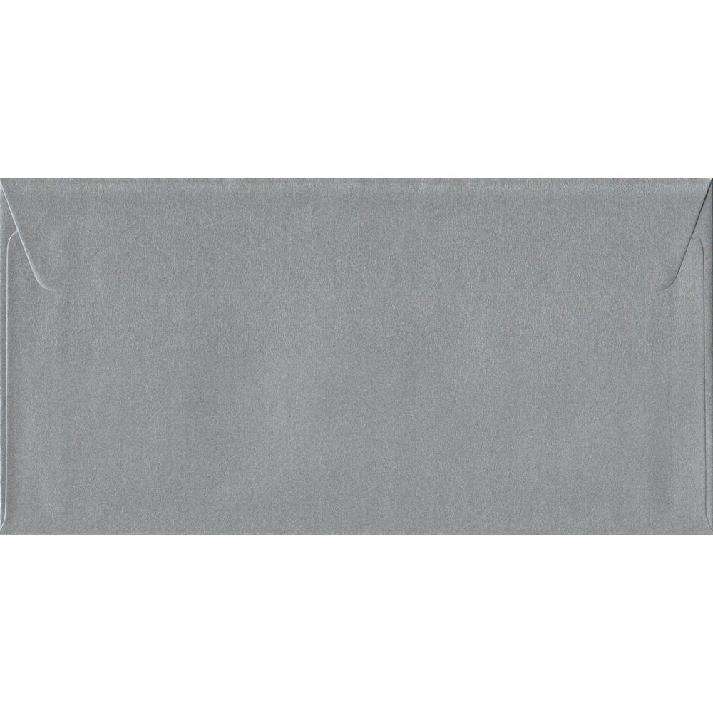 Silver Metallic Peel And Seal DL 110mm x 220mm Individual Coloured Envelope