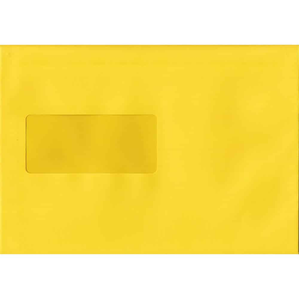 Banana Yellow Windowed 162mm x 229mm 120gsm Peel/Seal C5/A5/Half A4 Sized Envelope