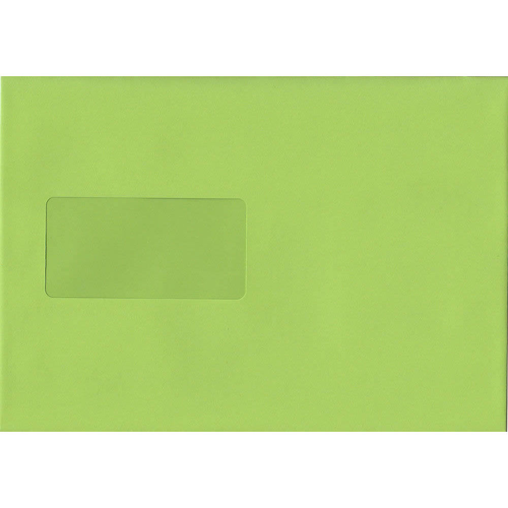 Lime Green Windowed 162mm x 229mm 120gsm Peel/Seal C5/A5/Half A4 Sized Envelope