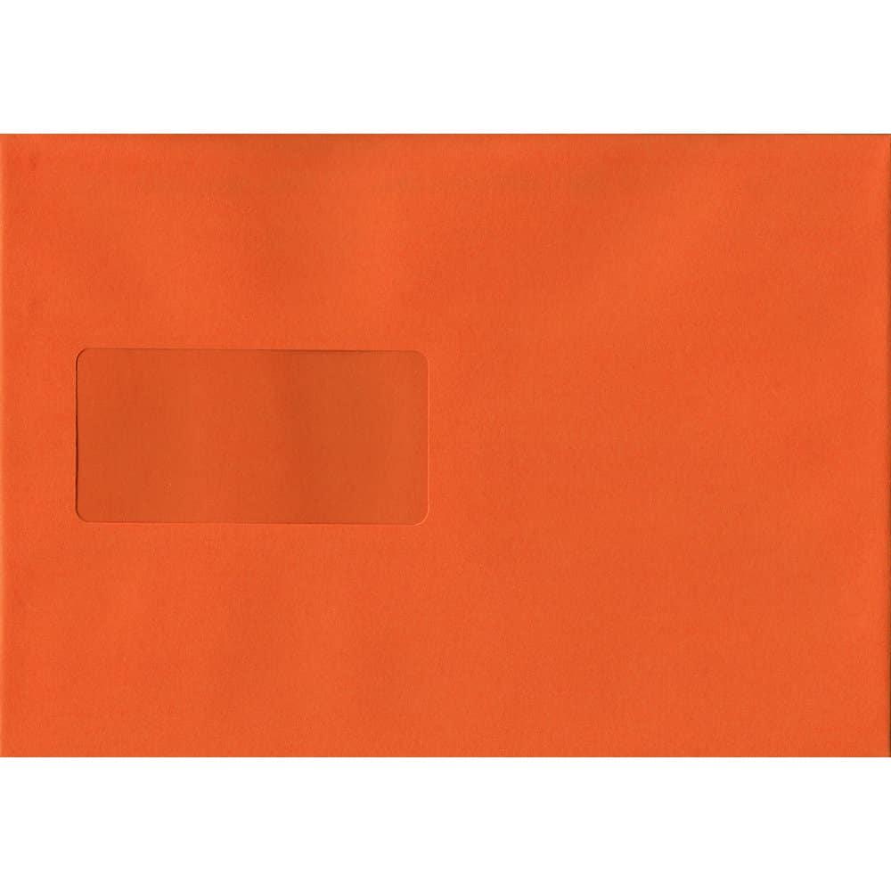 Orange Windowed 162mm x 229mm 120gsm Peel/Seal C5/A5/Half A4 Sized Envelope
