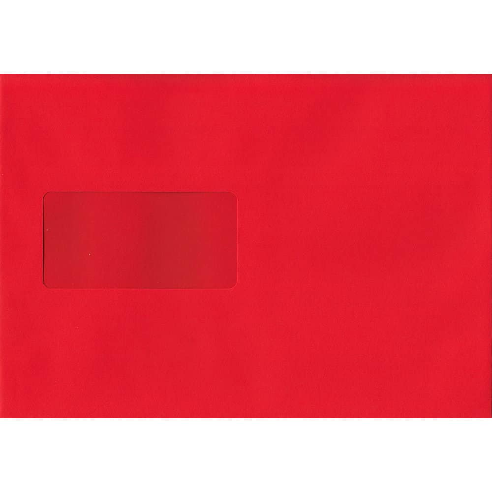 Pillar Box Red Windowed 162mm x 229mm 120gsm Peel/Seal C5/A5/Half A4 Sized Envelope
