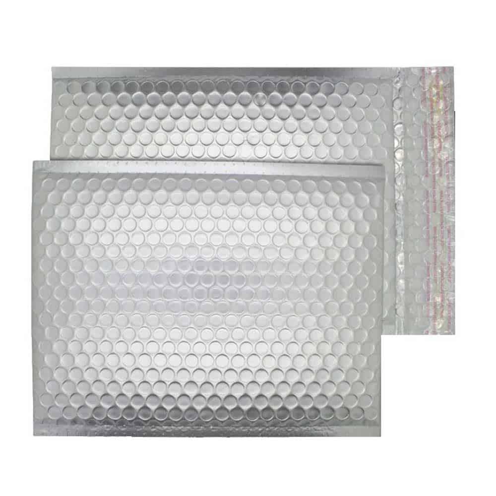 Brushed Chrome Matt 250mm x 180mm Bubble Lined Envelopes (Box Of 100)