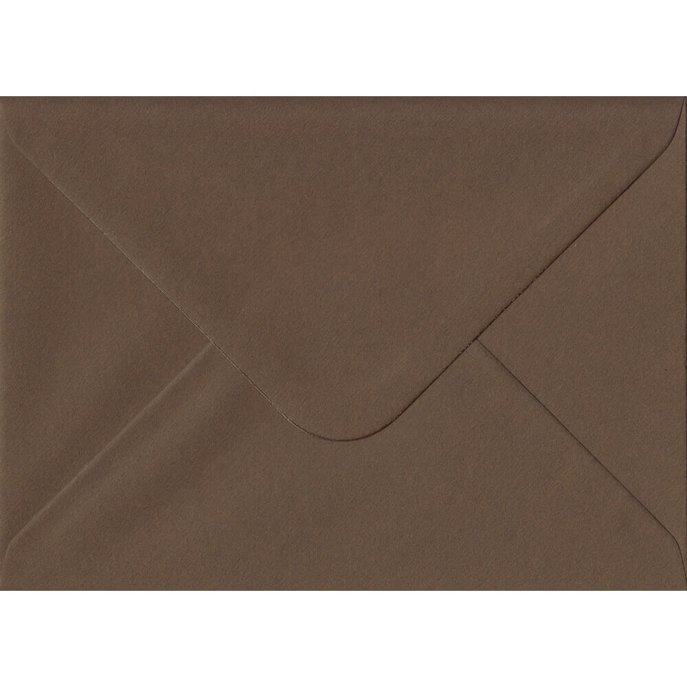 100 A6 Brown Envelopes. Chocolate Brown. 114mm x 162mm. 100gsm paper. Gummed Flap.