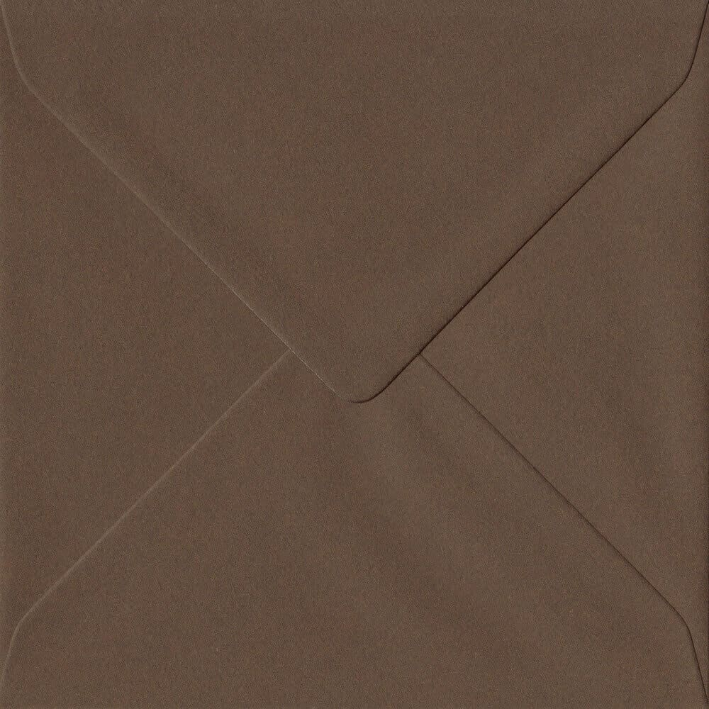 Chocolate Brown 155mm x 155mm 100gsm Gummed Square Sized Envelope