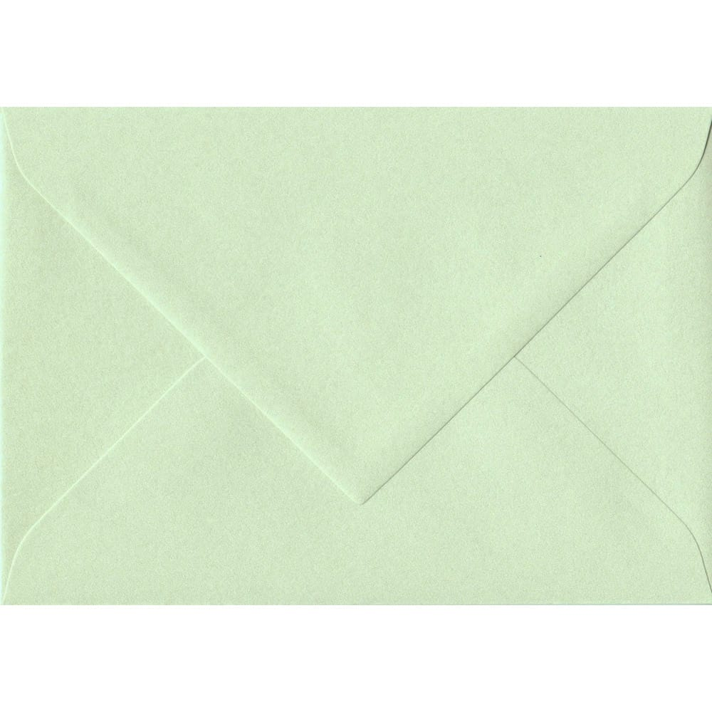 135mm x 191mm Pistachio Green Pearlescent Envelope. 5x7 Paper Size. Gummed Flap. 120gsm Paper.