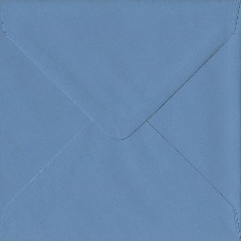 155mm x 155mm French Blue Extra Thick Envelope. Square Envelopes Size. Gummed Flap. 135gsm Paper.