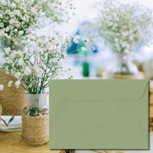 Wedgwood Green Laid Envelopes